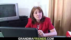 Very old office granny gets used by two men