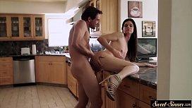 Stepmom banged hard in the kitchen