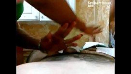 Brazilian waxing ends with cumshot - SpyHappyEnding.com
