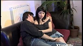 Mature man seduces and fucks his son gi iend in a couch