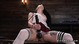 Hairy pussy brunette gets machine