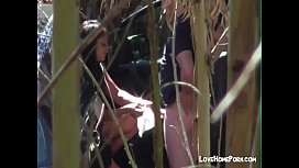 Filming nau couple having fun in the nature