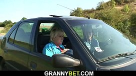 Hitchhiking 70 years old granny getting fucked roadside