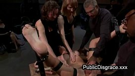 Strapped brunette fondled and gangbang fucked in public