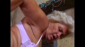 Horny granny Francsina knows how to seduce young man to fuck her
