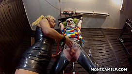 Kinky Norwegian MonicaMilf is pegging the dirty clown upside down