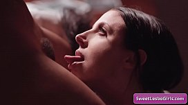 Sexy lesbian beauties Angela White and Jenna Foxx licking juicy pussy and playing with their perky nipples