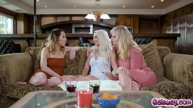 Elsa, Jade and Rachael stripping each other   down and exploring each other'_s bodies