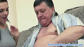 Teenage amateur pounded by horny grandpa