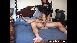Mistress hardens horny man'_s cock just by teasing it through the end