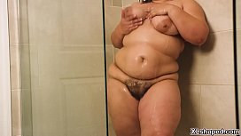 Gorgeous BBW Karla Lane was pleasuring her self in the shower then her handsome hubby joins her and gave her an awesome wet and wild sex.