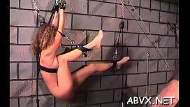 Rough spanking and harsh bondage on woman'_s slit