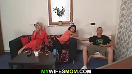 Her boyfriend doggy-fucks older mother-in-law