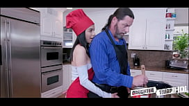Two Dad'_s Swap Fuck Hot Petite Latina Daughters During Cook Off