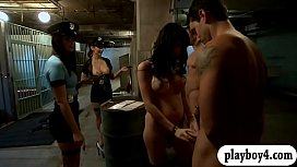 Two curvy women foursome in the jailcell