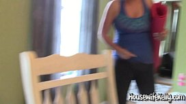 Cute freckled and flexible wife sucks dick on her Yoga Mat