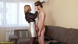 mom teaches blindfold stepson in rough anal fetish