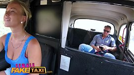 Female Fake Taxi Horny slim blonde driver in sweaty taxi backseat fuck