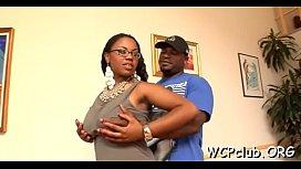 Very sexual white gal performs rodeo on big black jock
