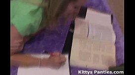 Nerdy science geek Kitty doing her homework