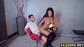 Amia Mileys pussy riding on top of Jessy Jones big meat