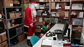 Petite teen elf thieves fucked by perv Santa on CCTV