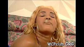 Black babe feels chubby rod of ebony thug in face hole and twat