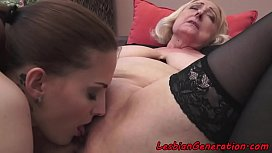 Granny orally pleasured in sexy stockings