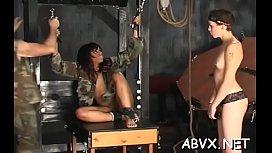 Coarse lesbo bondage in amateur scenes along hot babes
