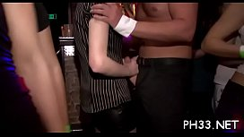 Blond young bitch swinging boobs fucked by black waiter from behind