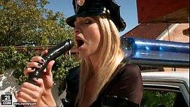 Horny Police Woman Masturbation