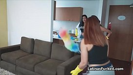 Three spicy Latina house cleaners doing extra
