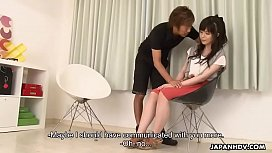 Hairy Japanese babe gets toyed and drilled by horny dude