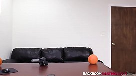 Young babe Alyssa auditions for anal creampie on black couch