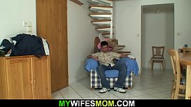 Hairy blonde motherinlaw sucks and rides his big dick