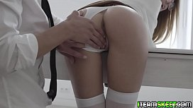 Lucky stud spreads Alexis ass cheeks and penetrates her sweet hole enjoying every second of their sex session