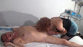 Hot mature masseuse fucks her client