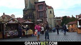 Picked up granny tourist rides stranger'_s cock