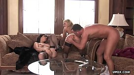 Two bitches gobbling the cock after the dude fucked them hard