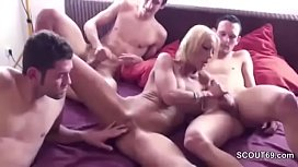 German Mom Seduce to Fuck by StepSon and Two Friends
