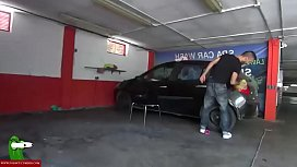 They are caught while she is eating dick in the car wash SAN