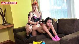 LETSDOEIT - Horny Female Dominatrix Abuses Her Petite Latina Maid
