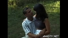 Horny teen babe can't expect to sit on his strong dick