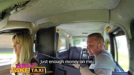 Female Fake Taxi Driver takes a facial for a fare