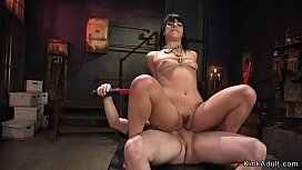 Slim dark haired cutie rough banged bdsm