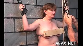 Young babe endures harsh treatment on her snatch and tits