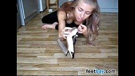 Blonde Girl Smells Her Beautiful Feet
