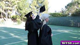 Nau graduating teens in a hot lesbian fuck