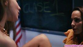 Busty teacher facesitting her substitute