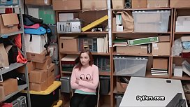 Redhead teen thief fucked after strip search